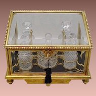 "Magnificent 10 ¼"" Antique Baccarat Scent Casket ~ Dore' Bronze and Beveled Glass Casket with A Drawer and Five Awesome Cut Crystal Pieces~ Majestic  Gilt Ormolu Fitted  Holder wFour Scent Bottles and a Covered Box"