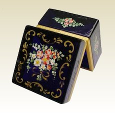 Charming Antique French Cobalt Hinged Box ~  Pretty Flowers and Extraordinary Beautiful Gilding ~ Very Fine Gilt Mounts and Lift Clasp
