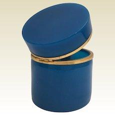 Beautiful  Blue Opaline Glass Hinged Box ~  Smooth Gilt Mounts ~ AWESOME BLUE