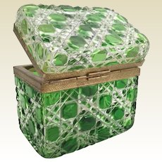 Amazing Antique French Green Cut to Clear Casket Hinged Box ~ Exquisitely Cut with Fancy Mounts and S Clasp  ~  Three Pounds