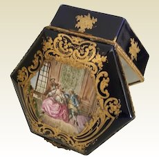 Antique French Porcelain Casket with Beautiful  Pastoral Scene ~ Lovely Shape ~ Fabulous Heavy Gilding