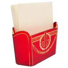 """Antique French Red Crystal Letter Holder """"A BEAUTY!"""""""
