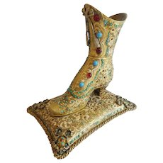 "Antique Austrian Jeweled Bronze Victorian High Top Shoe Inkwell  'RAREST"""