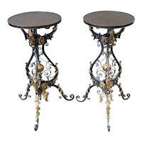 Glorious Pair of Iron &  Brass Pedestal Table