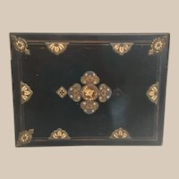 """Antique 12"""" French Ebony Game Box w Champleve Plaques  ~ AS IS!"""