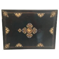 "Antique 12"" French Ebony Game Box w Champleve Plaques  ~ AS IS!"