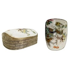 Stunning Asian Porcelain and White Metal Box