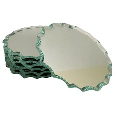 "4"" Vintage Mirrored Coaster Display ~  Use as a Coaster or Perfect for a Vitrine Cabinet Display"