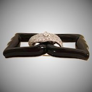 3 Carat Diamond Art-Deco Black Onyx Bow Brooch ~ EXQUISITE  and Very Fine