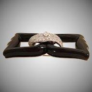 3 Carat Diamond Art-Deco Black Onyx Bow Brooch ~ EXQUISITE  and Very Fine