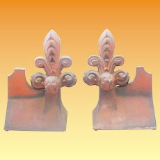 RARE Antique French Fleur de lis Roof Tiles ~STUNNING PAIR ~  They are BIG!  and BEAUTIFUL!