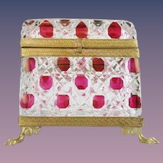 """Antique Red Cut to Clear Casket Hinged Box """" PAW FEET""""  ~ Fabulous Ornate Mounts and S Clasp ~ Exquisite Fancy Base with Paw Feet ~ A Magnificent Casket from My Treasure Vault."""