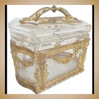 Antique French Baccarat Casket Box with Exquisite Handle ~  Magnificent Gilt Ormolu ~ RARE Thick Crystal with Ornate Gilt Ormolu