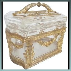 Antique French Empire Style Casket Box with Exquisite Handle ~  Magnificent Gilt Ormolu and RARE Thick Crystal with Ornate Gilt Ormolu