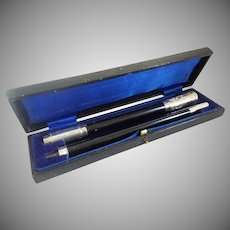 Antique English Conductor Baton in the Original Presentation Case ~ Dedication Plaque on the Ebony and Silver Baton ~  A RARITY from My Treasure Vault
