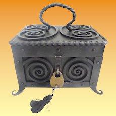 Glorious Antique Iron Casket Hinged Box ~  Handle ~ Lock and Key~ RARE Feet