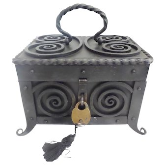 Glorious Antique Iron Casket Hinged Box ~  Handle ~ Lock and Key~ RARE Feet