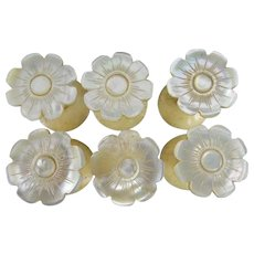 Antique Mother of Pearl Thread Spools ~ A RARE and WONDERFUL Set of SIX ~ A Matching Set