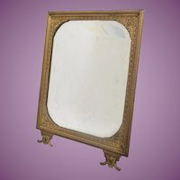 Antique French Bronze Picture Frame or Table Mirror ~ Original Beveled Mirror ~  Beautiful Very Fine Bronze Table Easel Back Mirror