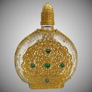 Vintage Jeweled Crystal Perfume Bottle Covered in Gilt Ormolu ~ Lovely Long Crystal Daube.