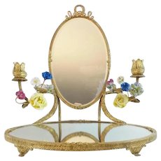 Antique French Mirror Vanity with Porcelain Flowers ~ Stunning Gilt Ormolu Vanity with Two Mirrors