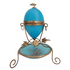 Palais Royal French Blue Opaline Egg Box with Hand painted Trinket Dish ~Pretty Little Bird Finial