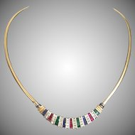 "Spectacular 20"" 14KARAT Yellow Gold Ruby, Emerald, Sapphire & Diamond Necklace ~ EXQUISITE"