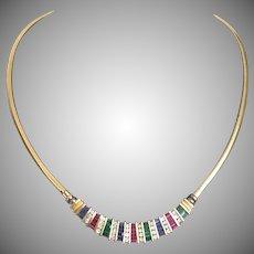 "Spectacular 20"" 14KARAT Yellow Gold Ruby, Emerald, Sapphire & Diamond Necklace ~ EXQUISITE"