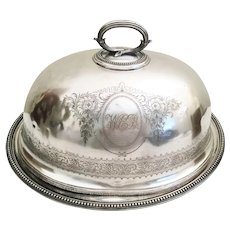"BIG  and  Majestic 18"" Antique English Silver Dome and Tray ~ 8 Pounds  Antique  Silver plate  Masterpiece"