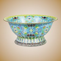 "Antique 15 "" Chinese Cloisonné Footed Bowl ~ AWESOME Colors ~ A Chinese Masterpiece from My Treasure Vault"