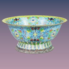 """Antique 15 """" Chinese Cloisonné Footed Bowl ~ AWESOME Colors ~ A Chinese Masterpiece from My Treasure Vault"""