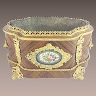 Antique French Sevres Style Jardinière Planter with Double Bronze Handle. ~Sevres Flora Porcelain Plaque ~  Gilt Ormolu Footed Base ~ A BEAUTY from My Treasure Vault.