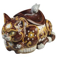 "Majolica ""Byzantine Cat,"" Jar or Spittoon, with Mouse Designed by Portuguese Artist Raphael Bordallo Pinheiro"