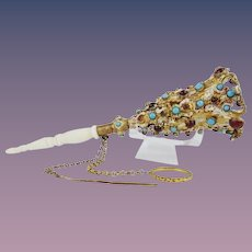 Antique French Enamel Jeweled Tussie Mussie Posey Holder Porte Bouquet ~  Red and Turquoise Gems w/ Original Finger Ring and Pin ~ Beautiful Mother of Pearl Handle