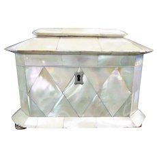 1840 English Mother of Pearl Tea Caddy ~ A Delightful Mother of Pearl Tea Caddy from My Treasure Vault.