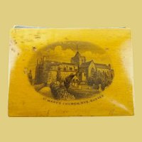 1870 Mauchline Needle Case w Etched Scene of Saint Mary's Church, Rye, Sussex.