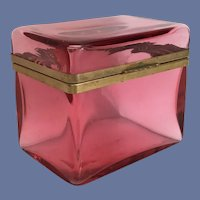 Magnificent Antique Cranberry Casket Hinged Box ~   Beautiful Case Glass wSmooth Gilt Mounts and lift Clasp.