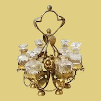 """19C French  12"""" Perfume Stand w/ 6 Bottles ~ Glorious Gilt Ormolu Stand Resting on an Alabaster Plinth & Holding 6 Perfume Bottles"""