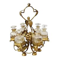 "19C French  12"" Perfume Stand w/ 6 Bottles ~ Glorious Gilt Ormolu Stand Resting on an Alabaster Plinth & Holding 6 Perfume Bottles"