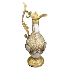 "GIANT Palais Royal White Opaline Ewer with Four Miniatures ~  Dripping in Gilt Ormolu Lace with Four Miniatures ~    ""Putti"" Crystal Stopper."