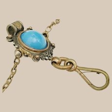 Antique Brass Jeweled Chatelaine Clip.