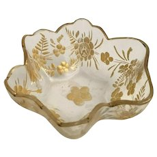 Antique Moser Salt Nut Dish ~ Awesome Gilding and Beautiful Shape.