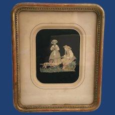 "Antique Silk work ""Couple with Dog"" Gilding Frame"