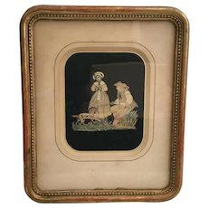 "Antique Silk work ""Couple with Dog"" Gilding Frame"