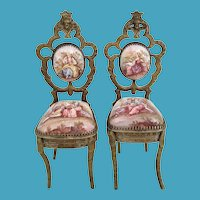 Antique Viennese Enamel Miniature Chairs ~ PAIR ~ Beautiful Pastoral Scenes and Exquisite Figural Tops