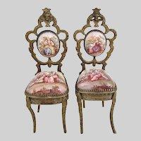 Antique Viennese Enamel Miniature Chairs ~ PAIR ~ Beautiful Pastoral Scenes wExquisite Figural Tops