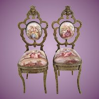 Rare Antique Viennese Enamel Miniature Chairs ~ PAIR~ Beautiful Pastoral Scenes and Exquisite Figural Tops