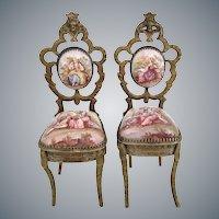 Rare Antique Viennese Enamel Miniature Chairs ~ PAIR~ Beautiful Pastoral Scenes and Exquisite Figural Tops