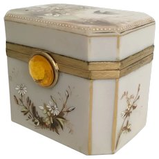 Antique French Opaline Hand painted  Hinged Box  ~ Ornate Mounts ~ Rare Ecru Color Opaline ~ A Charming Hand painted  Bird w Foliage