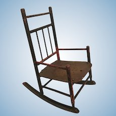 Antique Painted Wood Doll Child's Rocking Chair ~  Great Paint Loss